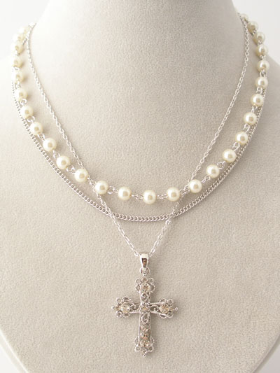 Jewelry zion city ministries layered silver pearls cross necklace aloadofball Gallery